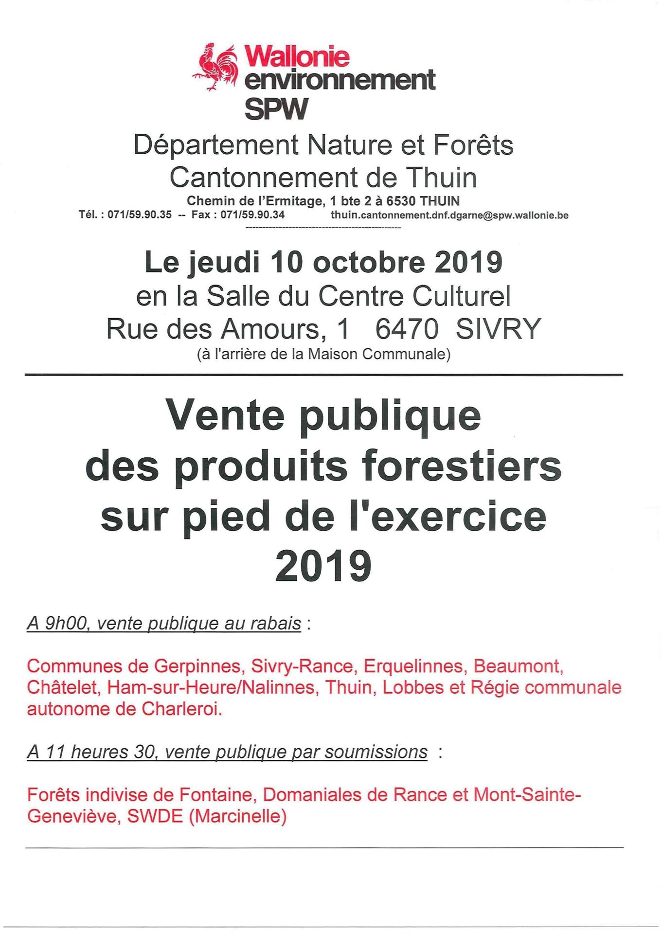 Vente publique des produits forestiers 2019