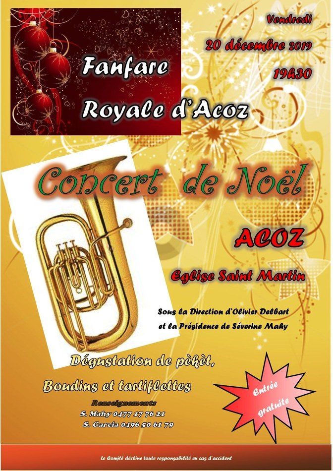 Concert de Noël 2019 Acoz